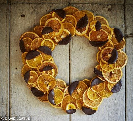 Homemade candied chocolate orange and grapefruit wreath makes a great gift and also looks fab hung on your door