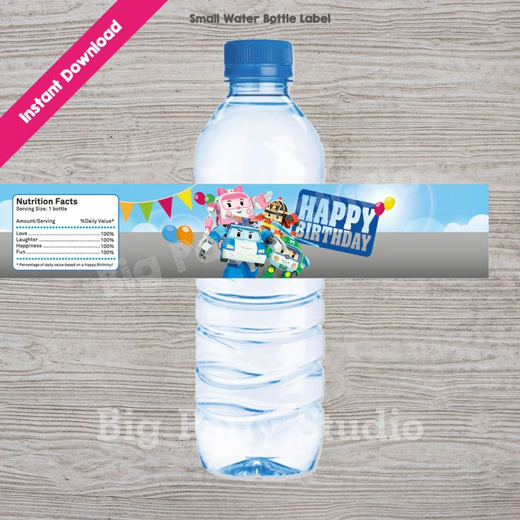 Robocar Poli Happy Birthday, Thank You for coming, Water Bottle Label, Robocar…