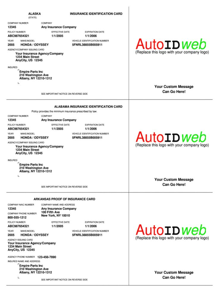 Auto insurance card template fill online printable with