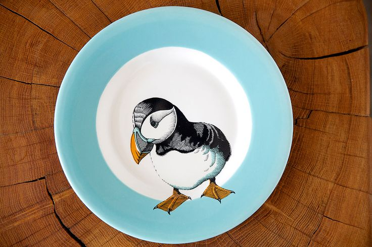 Jersey Pottery Neptune Puffin Side Plate #JerseyPottery #ceramics #pottery #marine #puffin