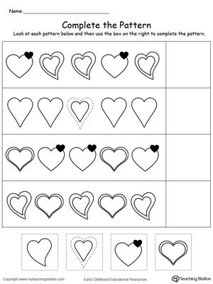 What comes next on this heart series pattern? Use My Teaching Station Heart Pattern worksheet to help your child practice recognizing patterns.