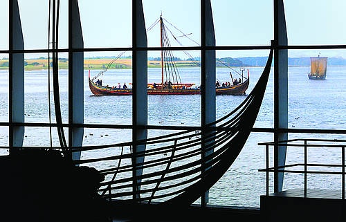 View from Roskilde Viking museum in Denmark. Besides being a museum, they also build and sail shipes in the local fjord where many of the old ships were found. The fjord is an ideal temperature to preserve the wood from the ancient ships. I have been lucky enough to live just blocks from here as a child, and participated in some of the school projects for children.