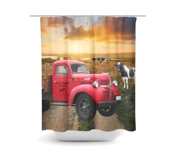 Old Red Truck Personalized Farm Shower Curtain Farmhouse Etsy
