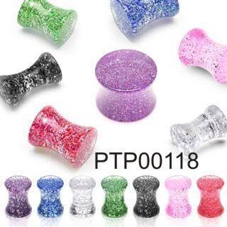Plug do ucha PTP00118 z průhledného materiálu ozdobený třpytkami. Piercing je dostupný v různých barevných provedení. http://www.piercingate.cz/plug-do-ucha-se-trpytkami-ptp00118