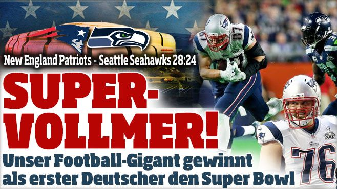 Super Bowl XLIX: New England Patriots - Seattle Seahawks 28:24SUPER-VOLLMER! Unser Football-Gigant Sebastian Vollmer gewinnt als erster Deutscher den Super Bowl http://www.bild.de/sport/mehr-sport/super-bowl/vollmer-und-die-patriots-schlagen-seattle-seahawks-39553600.bild.html Who prayed ;-D