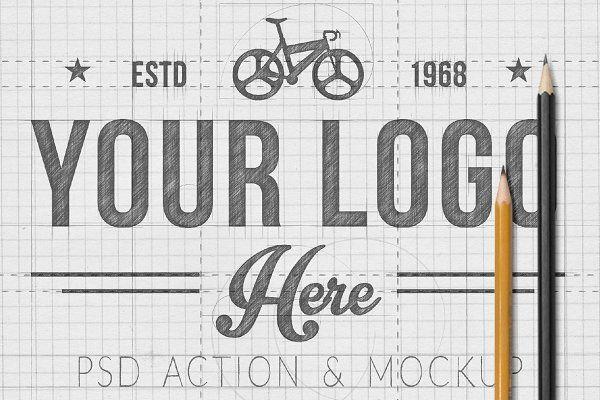 Download Hand Sketched Logo Action Mockup Psd Mockup Free Branding Mockups 2020 Hand Sketch Hand Drawn Photoshop Logo Templates