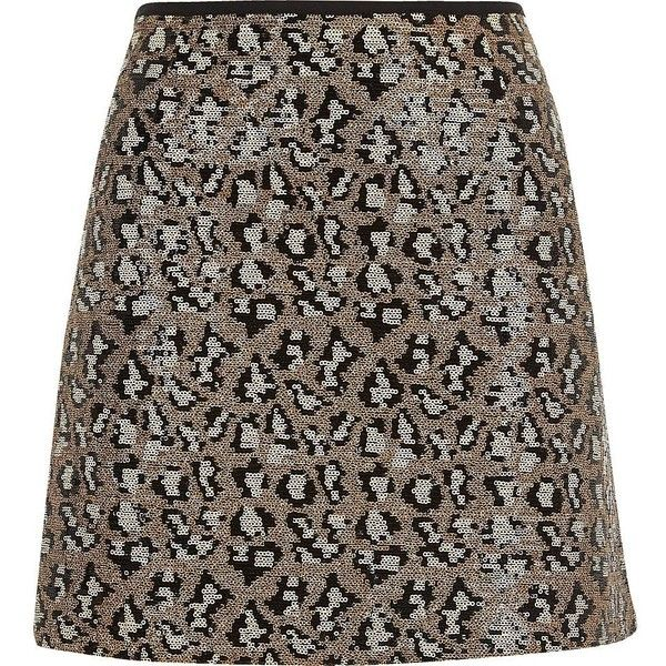 River Island Silver sequin animal print mini skirt ($30) ❤ liked on Polyvore featuring skirts, mini skirts, sale, silver, women, zipper mini skirt, brown skirt, silver sequin mini skirt, silver skirt and short sequin skirt