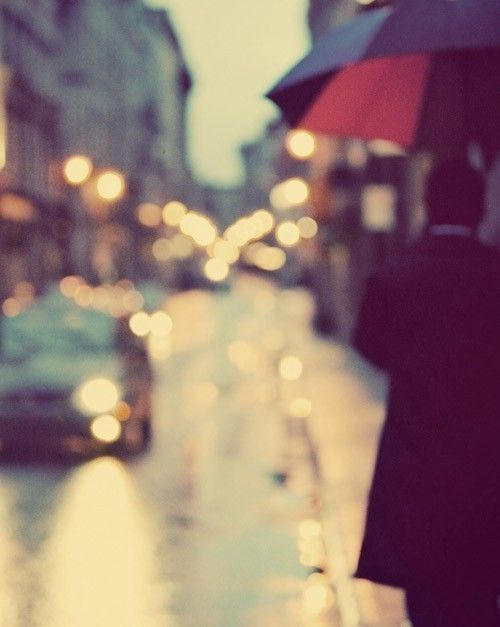 Rainy City Streets, Dreamy Abstract Urban Photograph, Spring, April Showers, Montreal - I love walking in the rain