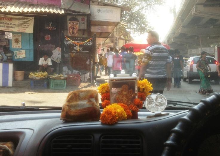 Taxi drivers dashboard shrine