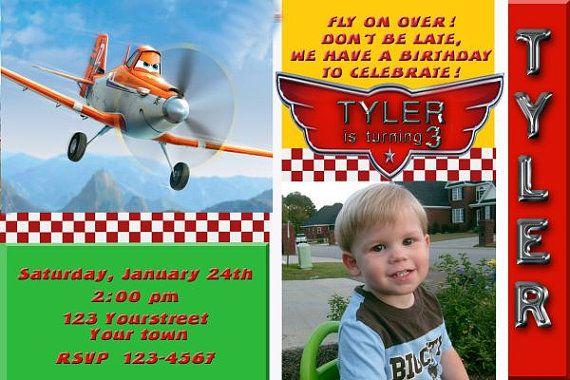 Disney Planes Dusty Birthday Party Invitation You Print Digital Invitation 4x6 or 5x7