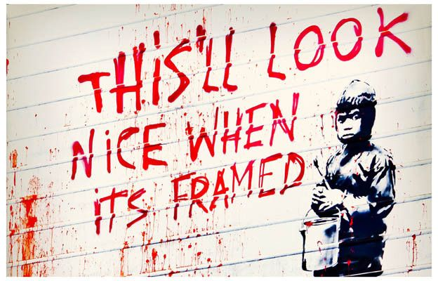 A great poster of street art graffiti by the ever-cheeky Banksy! Prove him right and get a frame for it :) Ships fast. 11x17 inches. Check out the rest of our awesome selection of Banksy posters! Need