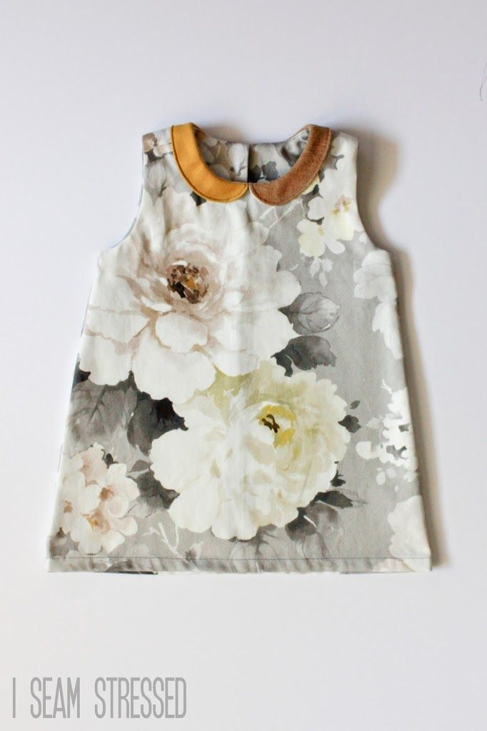 giant floral print toddler dress with mismatched peter pan collar. Perfection!