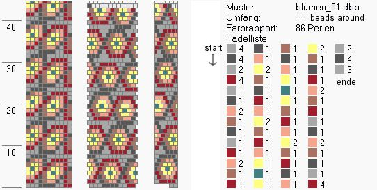 Schlauchketten häkeln - Musterbibliothek: blumen01bead crochet pattern's
