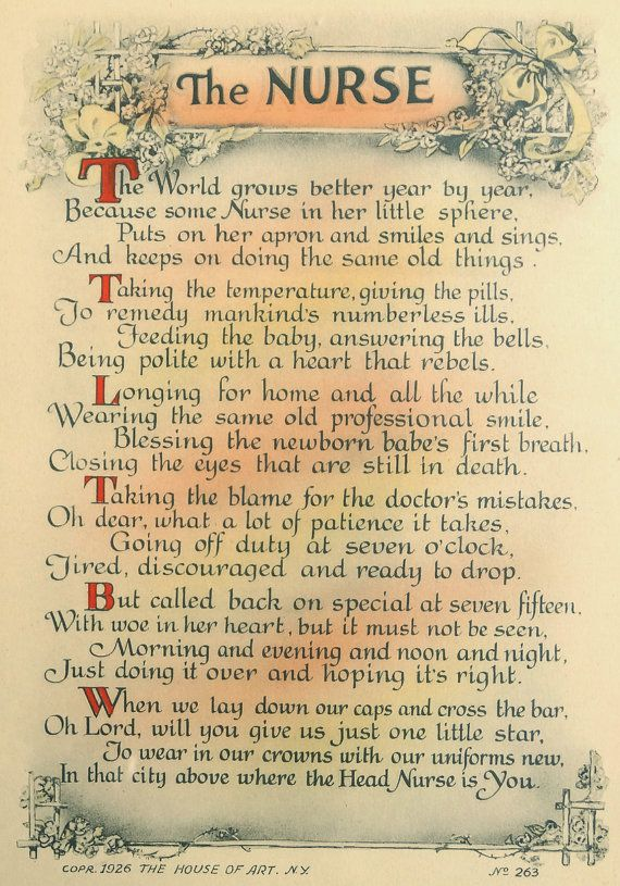 "On Etsy: Antique 1926  ""The Nurse"" Poem Framed Motto Art Print from CurioCabinet, $28.00"