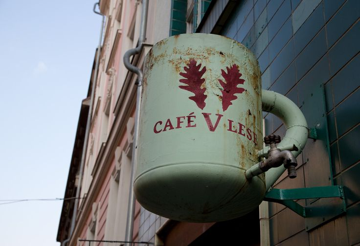 Giant mug, Cafe v lese on Krymska street, most hipster place in Prague
