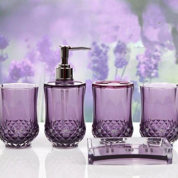 5pc Set Acrylic Bathroom Accessories Bathroom Set Glamarous Purple