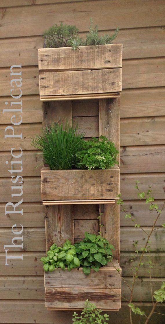 Rustic Simple Elegant For Sale Is A Rustic Wooden Planter Box Farmhouse Decor Reclaimed Wood Pl Diy Herb Garden Pallets Garden Vertical Herb Garden