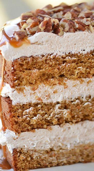 Caramel Pecan Carrot Cake. #desserts #cakes #fall
