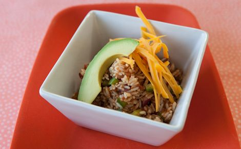 "Epicure's Enchilada Fried Rice: This is a good ""fridge cleaner"" recipe. Add in any leftover cooked chicken, beef or ham, and, of course, vegetables too!"