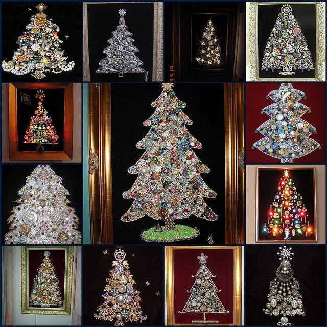 How To Make A Costume Jewelry Christmas Tree Part - 17: Costume Jewelry Trees | - Christmas Trees Made From Vintage Rhinestone And Costume  Jewelry .