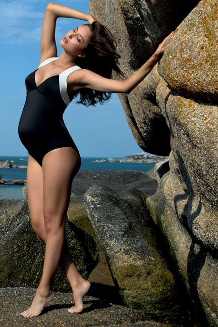 Cache Coeur Naos Cross Back Maternity 1 Piece Swimsuit | Designer Maternity  www.duematernity.com