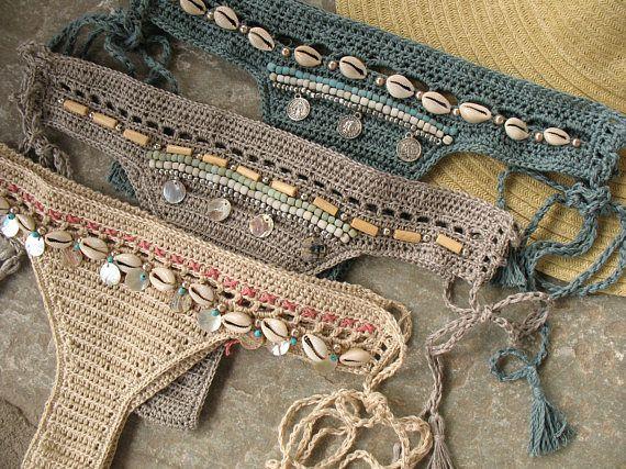 Fondo de bikini de ganchillo con borlas Fondo de bikini de