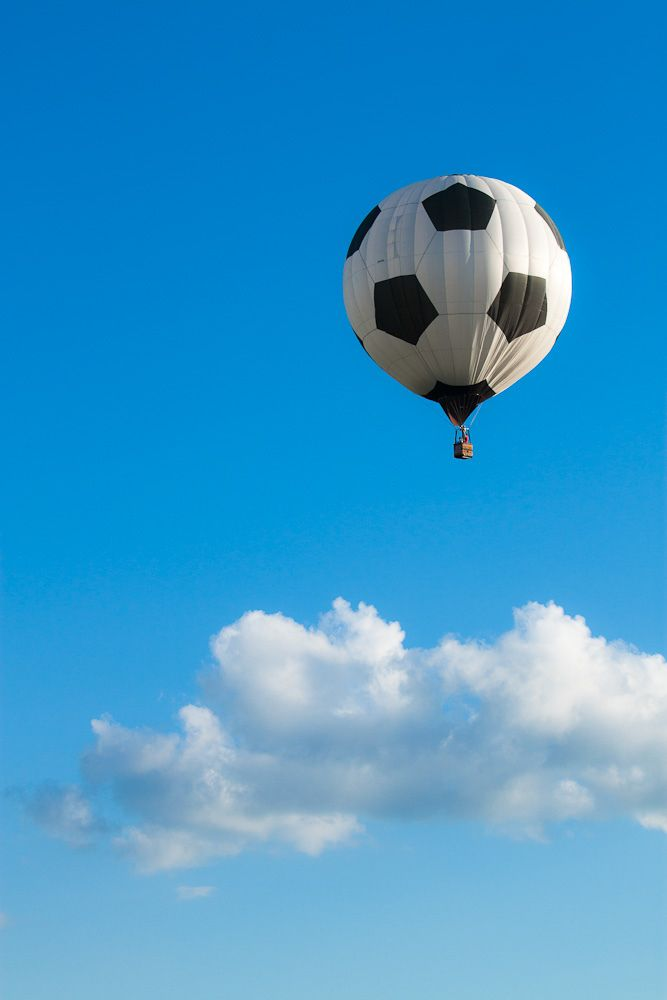 I love this! Soccer ball+ Hot air balloon= wow!