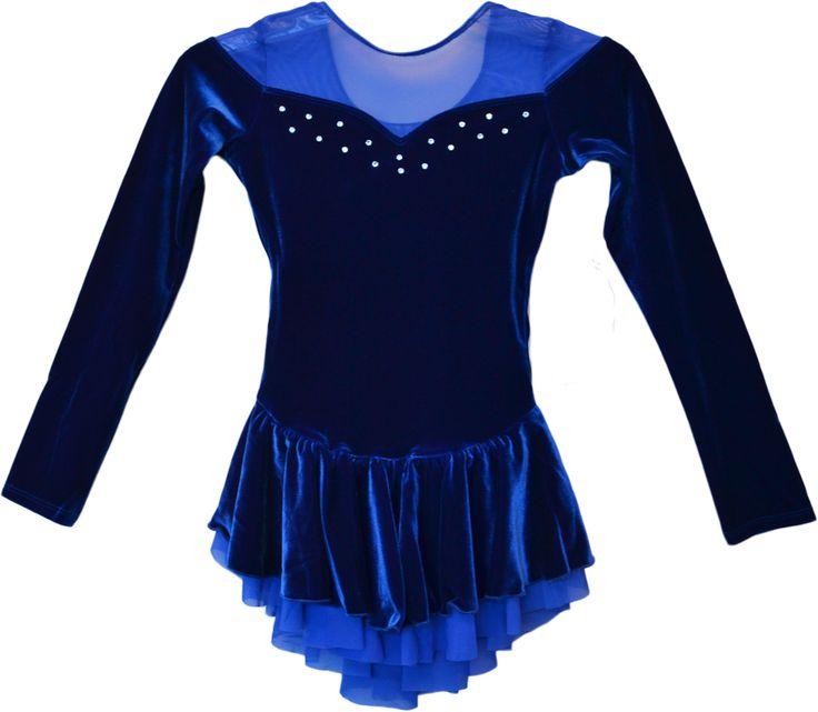 ChloeNoel DLV04 Velvet Double Layer Mesh Skirt Dress (Royal Blue)