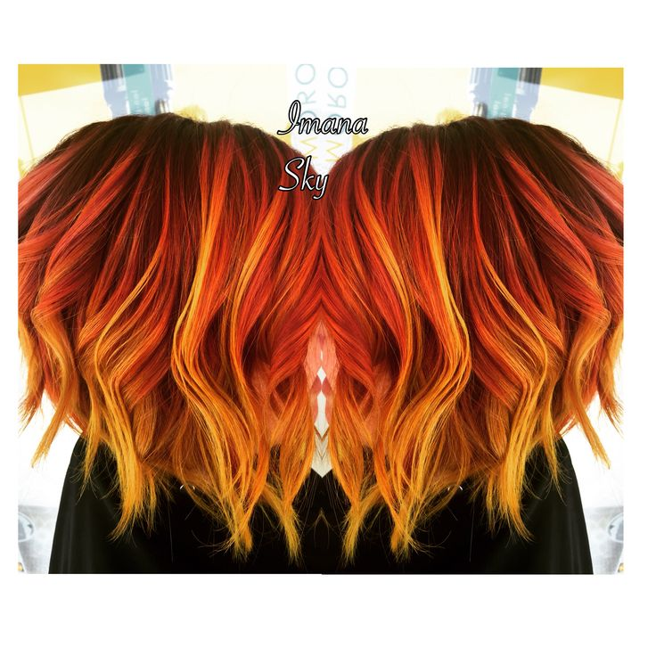 Purple roots to red orange and neon yellow flame /sunset Balayage hair  @imanaskysalon