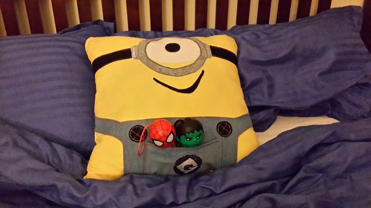 I made this minion pillow as a gift for my sister. Left it on my son's bed and look! It produces Spiderman and Incredible Hulk. :-)