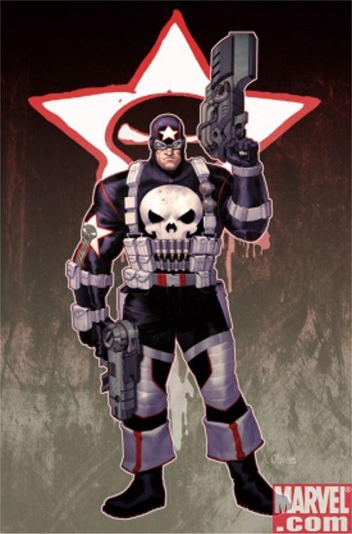 The Punisher in Captain America drag, Marvel Comics, 2007.