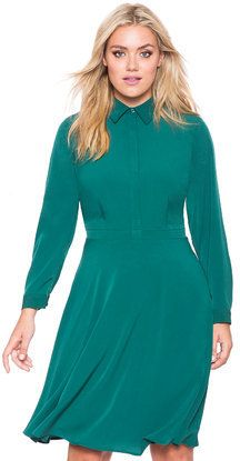 Plus Size Silky Fit and Flare Shirtdress - Eloquii