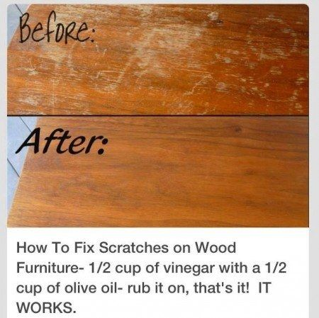 How to Fix Scratches on Wood Furniture; 1/2 cup of Vinegar with a 1/2 cup of Olive oil-rub it on, that's it!