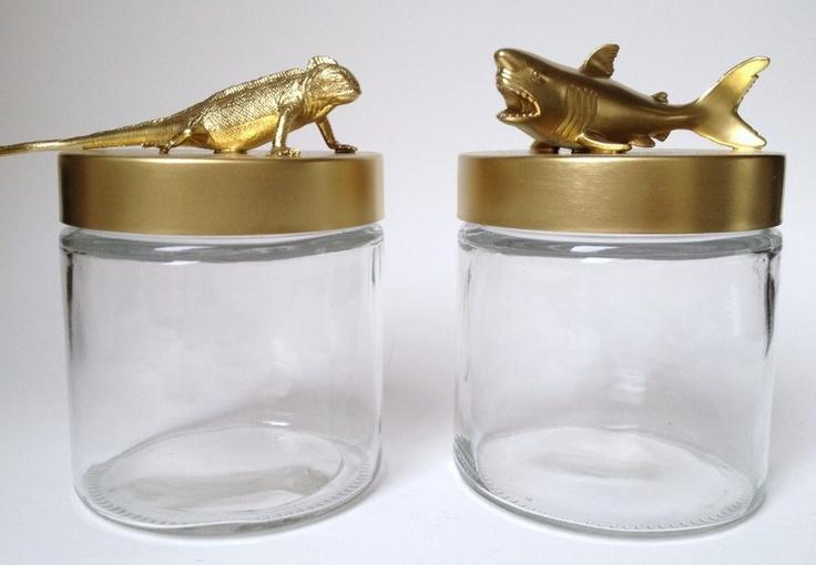2x Glazen voorraadpotten met Wilde Dieren (goud) van DeKudde