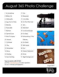 August CY365 Photo Challenge List