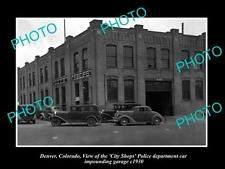 1930  OLD LARGE HISTORIC PHOTO OF  DENVER COLORADO, THE POLICE IMPOUND GARAGE c1930