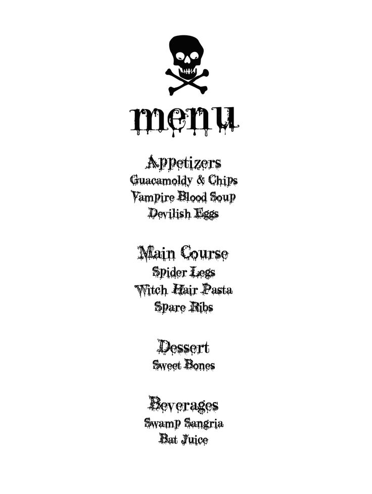 Halloween Menu - free download: Menu Design, Halloween Menus