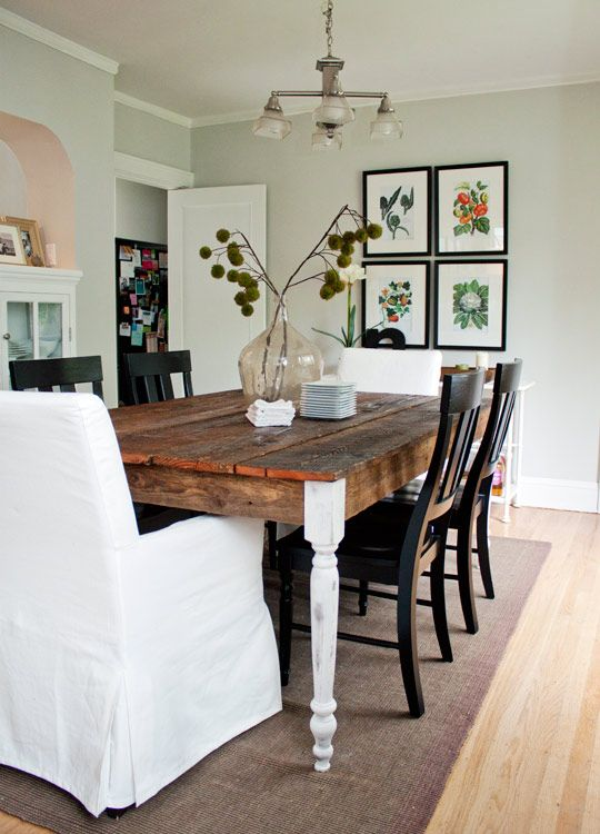 love the rustic table with the white legs - Dining Room Inspiration