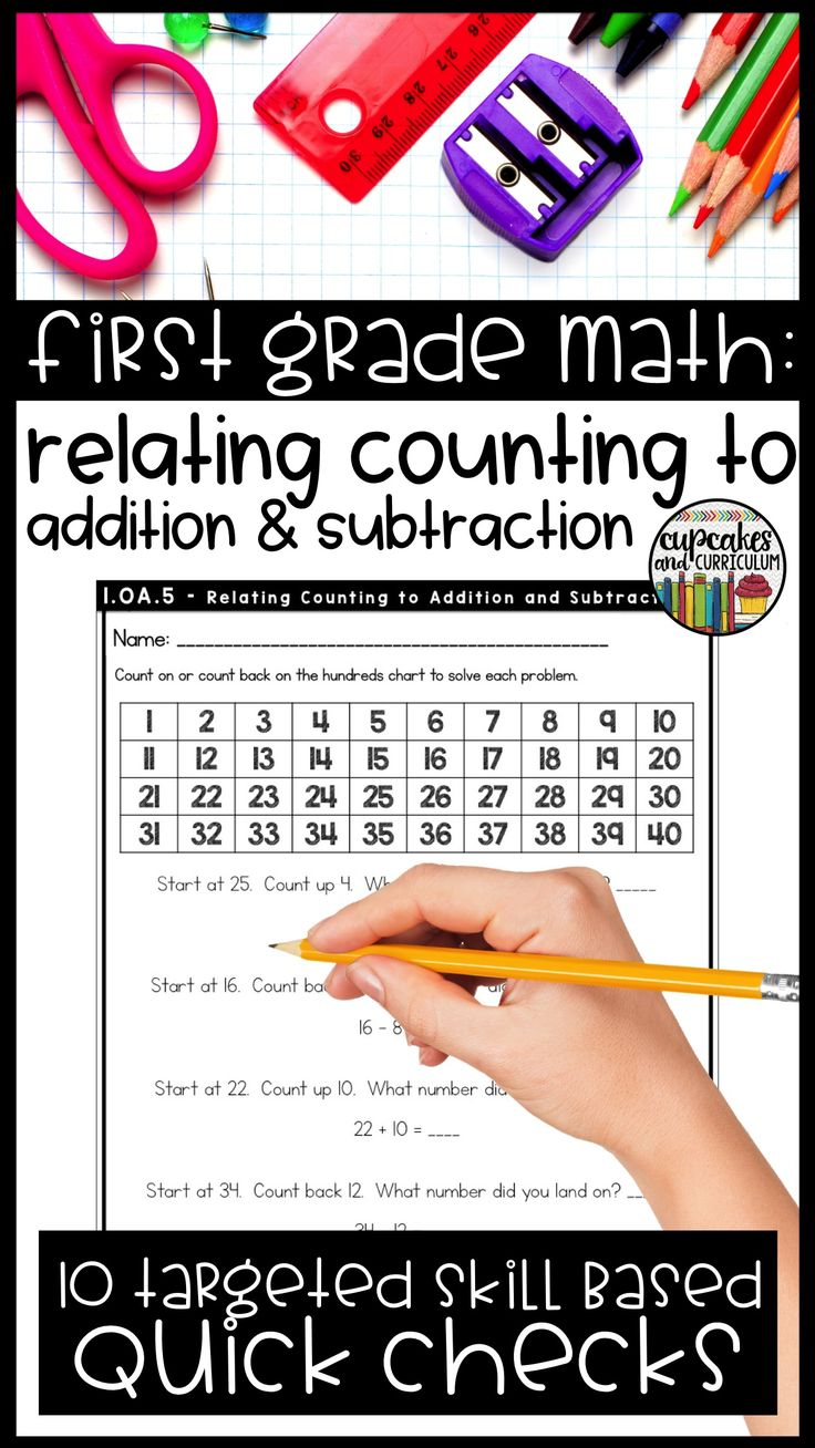 Relate counting to addition and subtraction practice for first grade math students- use as homework, morning work, quick check assessments, and more.  Part of the First Grade Bundle that includes 210 pages of targeted math skill practice.  Purchase individual skills or save with the first grade math bundle!