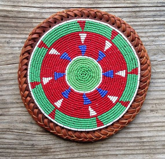 Vintage Beaded Leather Trivet Red Green by GrapenutGlitzJewelry