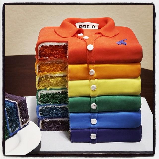 Rainbow polo shirt cake by Sweet Love, via Flickr