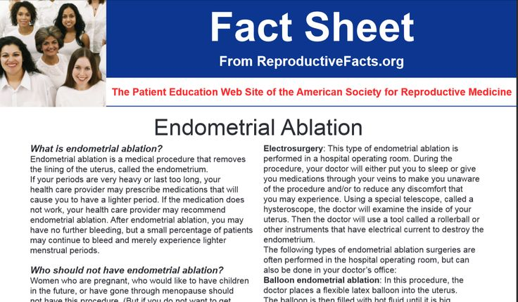 Endometrial Ablation. What is endometrial ablation? Endometrial ablation is a medical procedure that removes the lining of the uterus, called the endometrium. If your periods are very heavy or last too long, your health care provider may prescribe medications that will cause you to have a lighter period. If the medication does not work, your health care provider may recommend endometrial ablation. http://www.reproductivefacts.org/Endometrial_Ablation_factsheet/