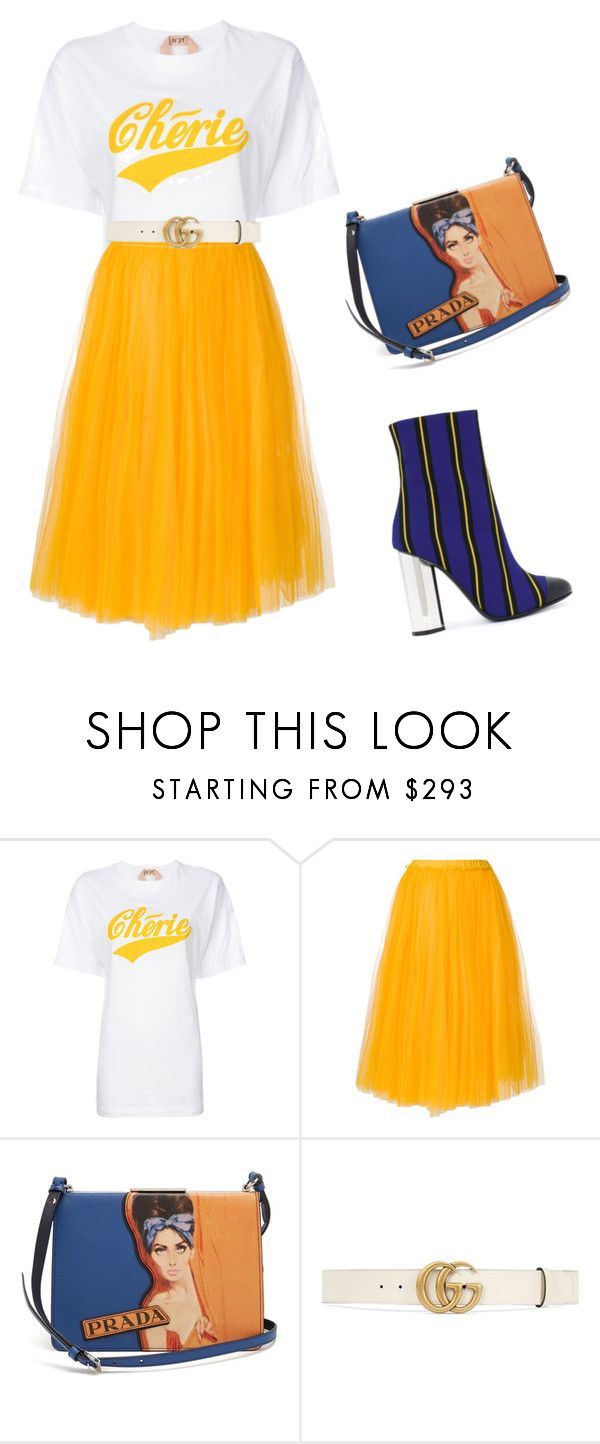 """""""mustard skirt"""" by elisy ❤ liked on Polyvore featuring N°21, Prada, Gucci and Marco de Vincenzo"""