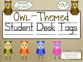 Free Owl-Themed Student Desk Tags!