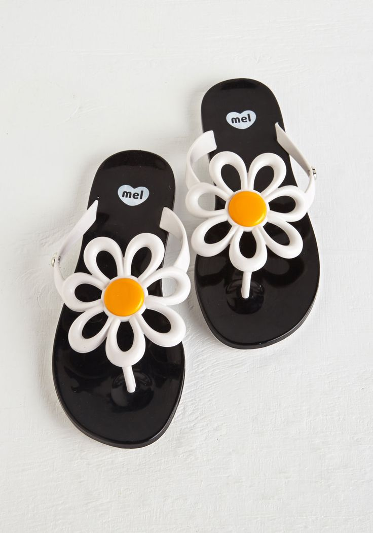 Mel Shoes Daisy of Plenty Sandal. Creating a fab and fun outfit is a breeze with these black-and-white sandals by Mel Shoes. #black #modcloth
