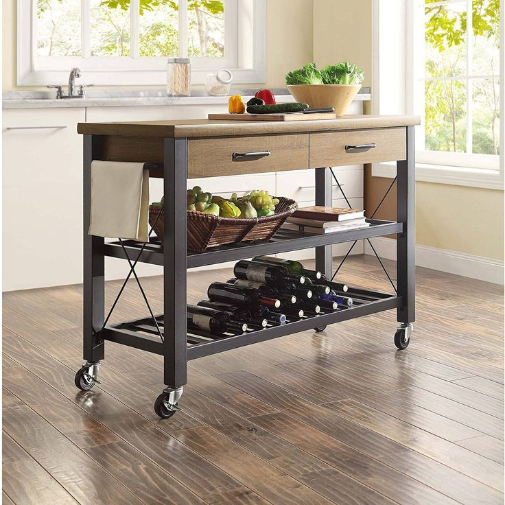 Indoor Furniture Storage Rolling Island Wood Utility Cabinet Table Portable Kitchen Cart Metal Shelves lower legs sturdy rustic brown finish organized extra counter Dimensions 49.63Lx19.00Wx35.50HI