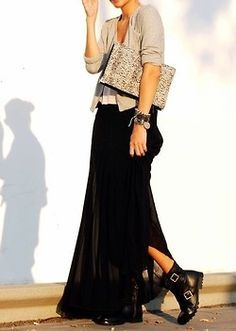 maxi skirt with biker boots - Google Search