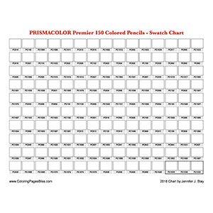 Prismacolor Premier 150 Colors Swatch Chart