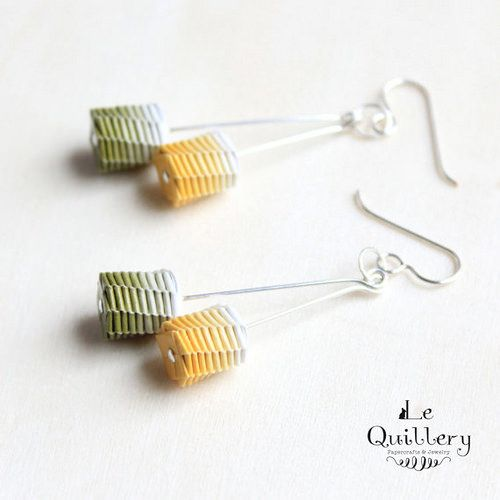 These pretty woven paper earrings by Le Quillery are included in a round up of colorful paper jewelry.
