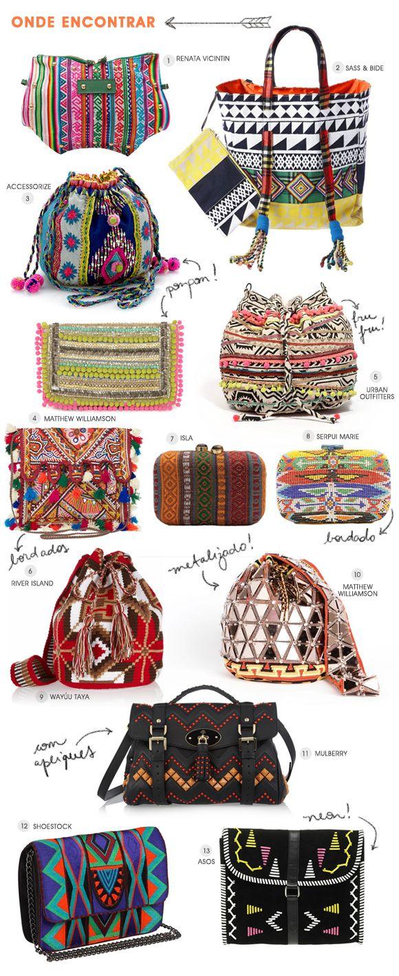 Achados da Bia | Tendência | Bolsa | Étnica | Tribal | Asteca | Pompom | Bordado | Pingente